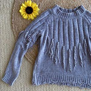 Sadie and Sage Grey Tassel Knit Sweater. S